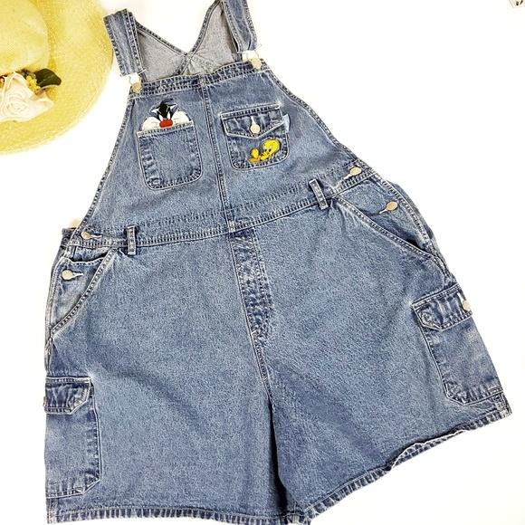 Looney Tunes Tweety Bird Overalls shorts